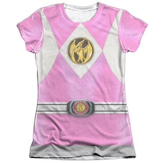 Power Rangers/Pink Ranger Emblem Short Sleeve Junior Poly/Cotton Crew in White