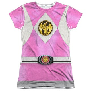 Power Rangers/Pink Ranger Emblem (Front/Back Print) Short Sleeve Junior Poly Crew in White