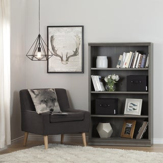 South Shore Morgan Grey Maple 4-Shelf Bookcase With 2 Canvas Storage Baskets