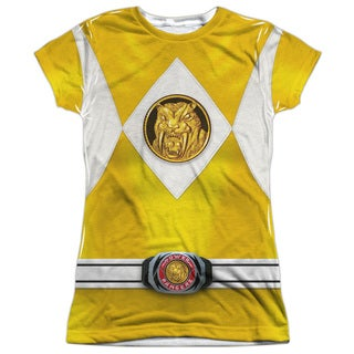 Power Rangers/Yellow Ranger Emblem (Front/Back Print) Short Sleeve Junior Poly Crew in White