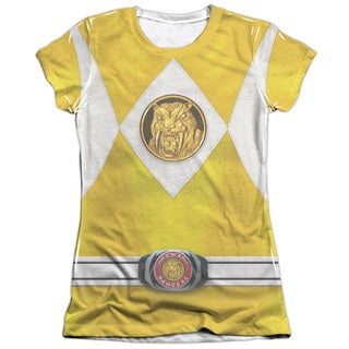 Power Rangers/Yellow Ranger Emblem (Front/Back Print) Short Sleeve Junior Poly/Cotton Crew in White