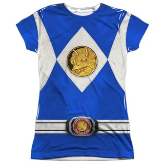 Power Rangers/Blue Ranger Emblem (Front/Back Print) Short Sleeve Junior Poly Crew in White