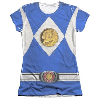 Power Rangers/Blue Ranger Emblem (Front/Back Print) Short Sleeve Junior Poly/Cotton Crew in White