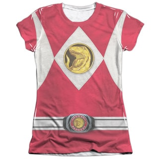 Power Rangers/Red Ranger Emblem Short Sleeve Junior Poly/Cotton Crew in White