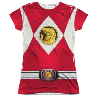 Power Rangers/Red Ranger Emblem (Front/Back Print) Short Sleeve Junior Poly Crew in White