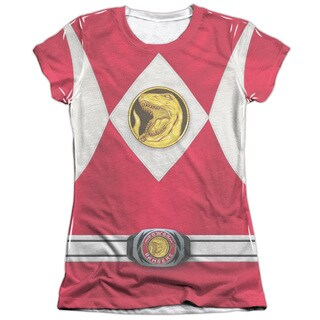 Power Rangers/Red Ranger Emblem (Front/Back Print) Short Sleeve Junior Poly/Cotton Crew in White