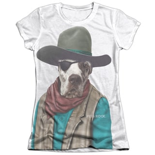 Pets Rock/Cowboy Short Sleeve Junior 65/35 Poly/Cotton Crew in White
