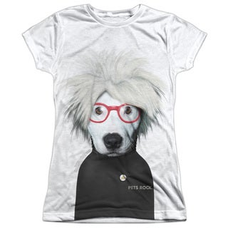 Pets Rock/Soup Short Sleeve Junior 100-percent Poly Crew in White