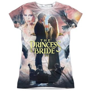 Princess Bride/Soft Collage (Front/Back Print) Short Sleeve Junior Poly Crew in White