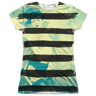 Bettie Page/Black Stripes Short Sleeve Junior 100-percent Poly Crew in White