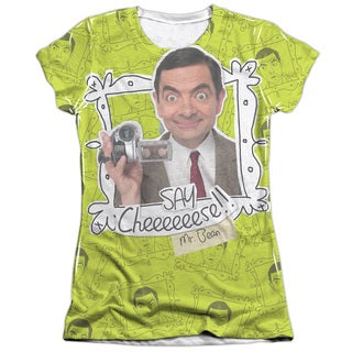 Mr Bean/Say Cheese Short Sleeve Junior 65/35 Poly/Cotton Crew in White