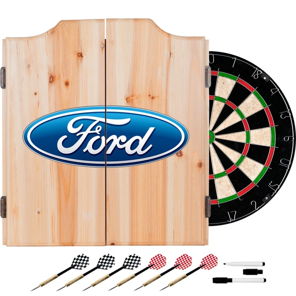 Ford Dart Cabinet Set with Darts and Board - Ford Oval