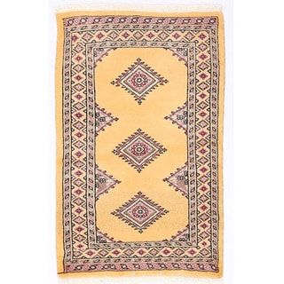 Herat Oriental Pakistani Hand-knotted Bokhara Gold/ Brown Wool Rug (2'1 x 3'2)