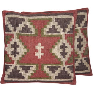 "Handmade Wool and Jute Kilim Pillow, Set of 2 (India) - 20"" x 20"""