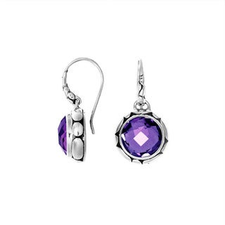 Handcrafted Sterling Silver Bali Faceted Round Gemstone Dangle Earrings (Indonesia)