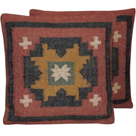 Handmade Wool and Jute Kilim Pillow, Set of 2 (India)