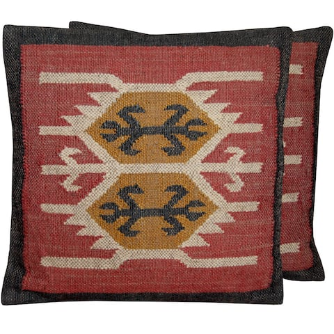 Handmade Wool and Jute Kilim Pillow, Set of 2 (India)