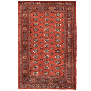 Herat Oriental Pakistani Hand-knotted Bokhara Rust/ Ivory Wool Rug (5'1 x 7'9)
