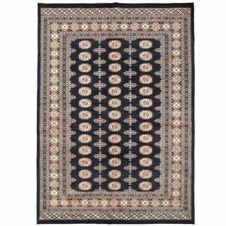 Herat Oriental Pakistani Hand-knotted Bokhara Black/ Rust Wool Rug (5'6 x 7'11)