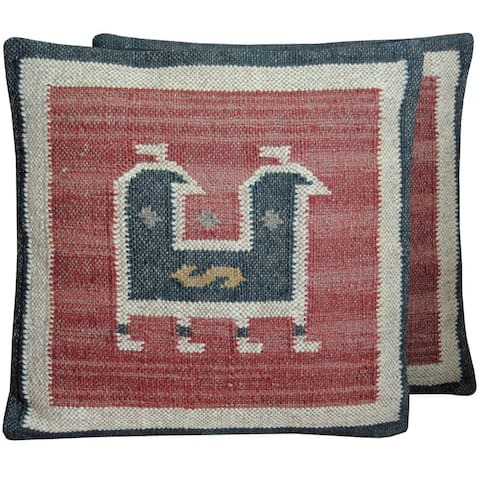 "Handmade Wool and Jute Kilim Pillow, Set of 2 (India) - 20"" L x 20"" W"