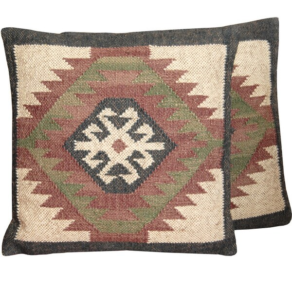 Handmade Indo Wool and Jute Kilim Pillow, Set of 2