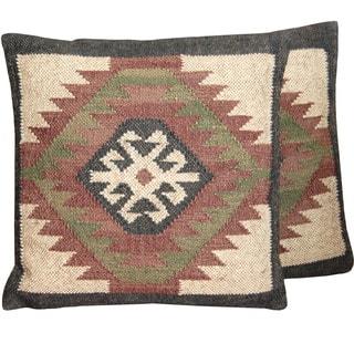 Herat Oriental Indo Handmade Wool & Jute Kilim Pillows (Set of Two)|https://ak1.ostkcdn.com/images/products/11883159/P18779959.jpg?impolicy=medium