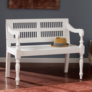 Harper Blvd White Turned-Leg Solid Mahogany Bench