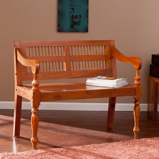 Harper Blvd Natural Turned-Leg Solid Mahogany Bench