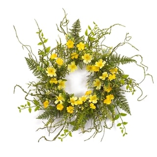 Wild Flower Yellow and Green Plastic Wildflower Wreath