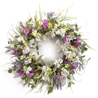 Spring and Summer Green/Purple/Lavender/White Polyester Indoor/Outdoor Full Floral Wreath