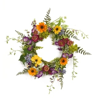 Multi-color Polyester Mixed Wild Flower Wreath