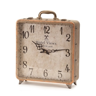 Copper Finish Glass and Iron Numerical Display Suitcase Table Clock