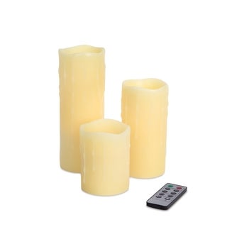 Plastic and Wax LED Dripping Candles with Remote (Pack of 3)