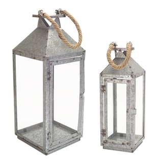 Brown and Silver Glass and Iron Galvanized Modernist Candle Holders Lantern (Set of 2)
