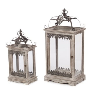 Vintage Filigree Grey Glass, Iron and Wood Set of 2 Candle Holder Lanterns