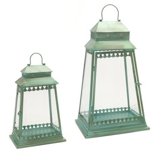 Blue, Green Iron and Glass Candle Holders Victorian Lantern (Set of 2)