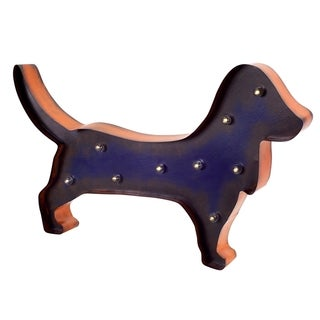 Blue/Orange Iron LED Dachshund Marquee Light