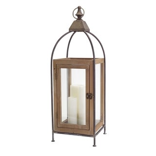 Black and Brown Glass, Iron and Wood Candle Holder Lantern