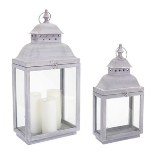 Modern Rustic Grey Metal Lantern (Set of 2)
