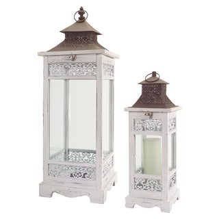 White and Brown Wood Vintage Lanterns (Set of 2)