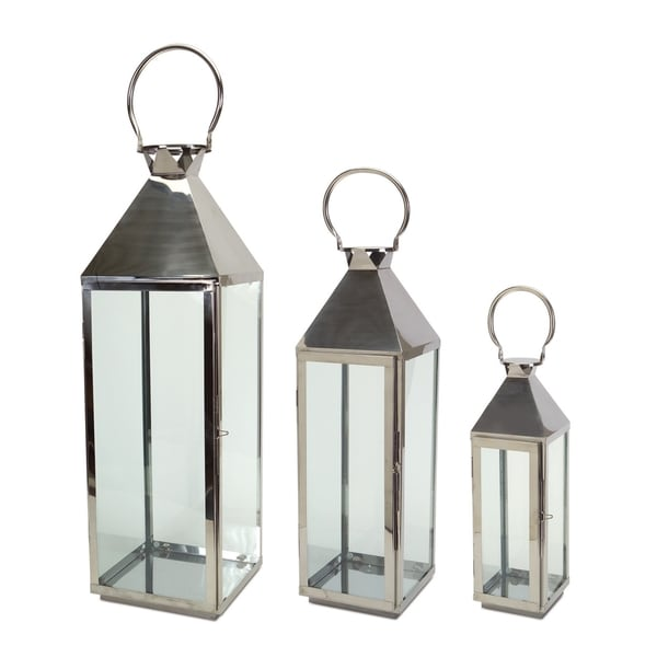 silver glass and iron set of 3 contemporary lanterns free shipping today. Black Bedroom Furniture Sets. Home Design Ideas