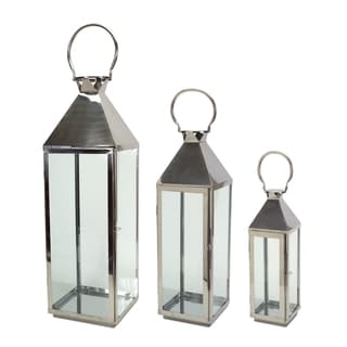 Silver Glass and Iron Set of 3 Contemporary Lanterns