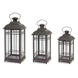 Black/Brown Iron and Glass Mission Lanterns (Pack of 3)