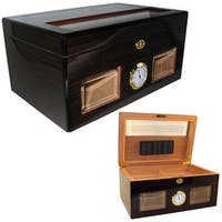 Cuban Crafters Bravo Black Glass-top 120-cigar Humidor