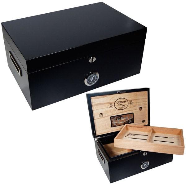 Cuban Crafters Murcielago Black Wood 150-cigar Humidor