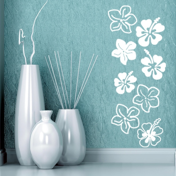 aa89d8065fdcb5 Shop Hibiscus Flowers  Style   Apply  Mural Vinyl Sticker Wall Decal ...