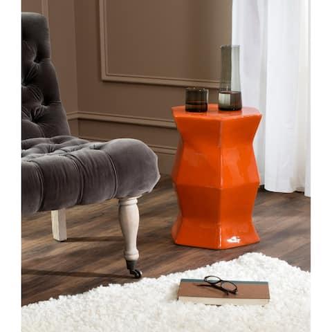 "Safavieh Modern Hexagon Orange Garden Stool - 12"" x 12"" x 17"""