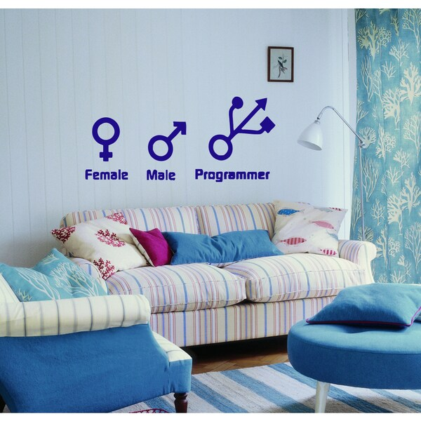 Female male programmer Wall Art Sticker Decal Blue