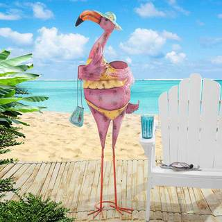 Sunjoy Pink Iron Flamingo Sculpture