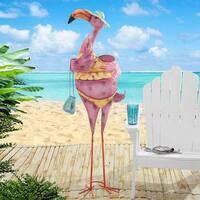 Sunjoy Pink Iron Flamingo Sculpture